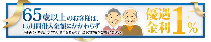 65歳以上のお客様限定 優遇金利1%キャンペーン