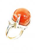 プラチナ製さんご付き指輪