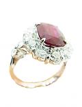 ルビー(非加熱)付きプラチナ製指輪