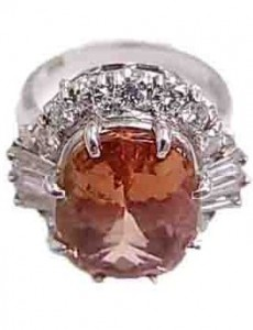 ガーネット付きプラチナ指輪