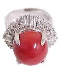 さんご付きプラチナ指輪